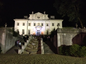 Swan House after dark before the crowd arrived.